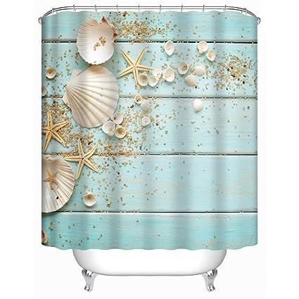 Uphome Beach Fabric Shower Curtain Aqua Seashell And Starfish On The Coastal Cloth