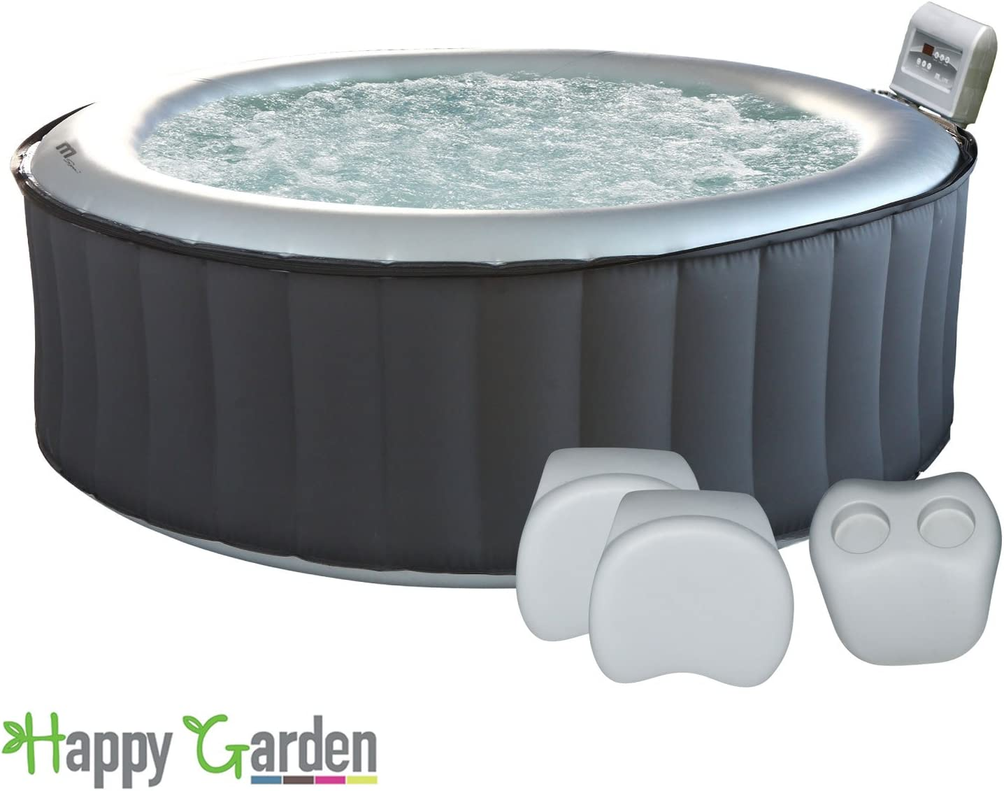 Happy Garden Pack Spa Gonflable Rond Silver Cloud - 4 Places + 2 appuie-tête + 1 Porte-gobelets