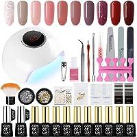 Saint-Acior UV nagel set gel kleuren voor nagels nagellak set 24 W UV + LED nagel lamp starterset manicure 10x gel…
