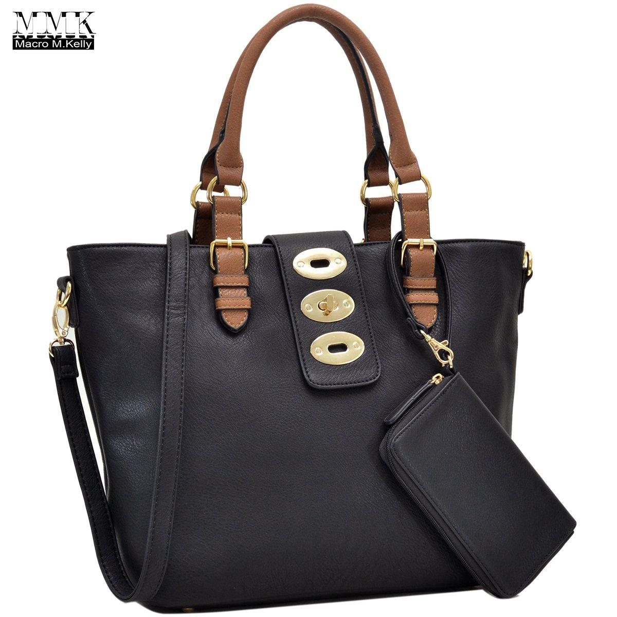 MMK collection Fashion handbag~Classic Tote bag~Holiday gift purse with Wallet~Beautiful Handbag wallet set~Crossbody handbag (MA-07-6717-BK/CF) by Marco M. Kelly (Image #1)
