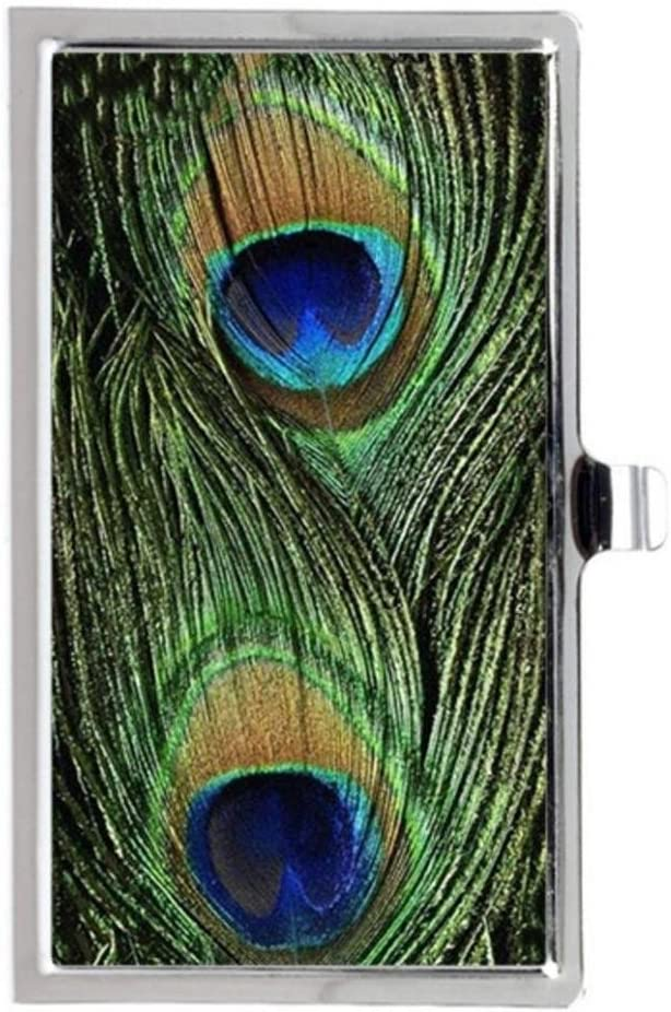 BIRD PEACOCK GREEN FEATHERS #1 Business Card Case Stainless Steel Name Card Holder Unique Image Print Tancat Design