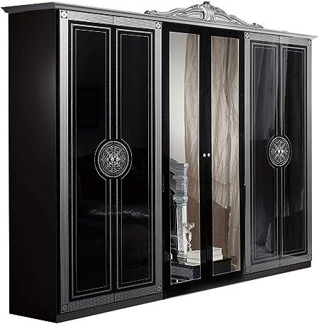 LIGNEMEUBLE TEVA Laca negra y plateada para dormitorio Barroque: El armario de 6 puertas: Amazon.es: Hogar