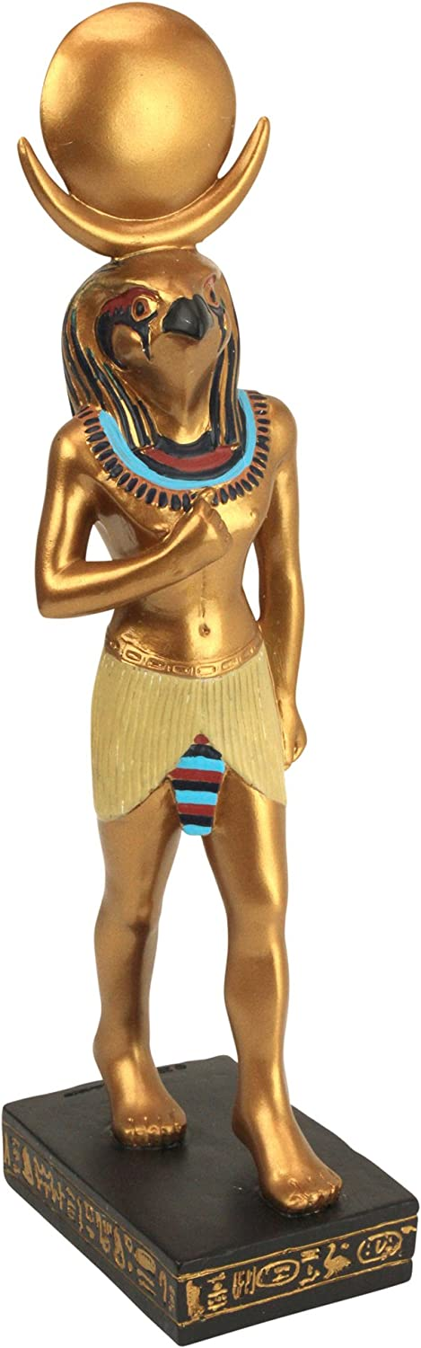 Design Toscano Horus Falcon God of the Egyptian Realm Figurine Statue, 8 Inch, Polyresin, Black and Gold