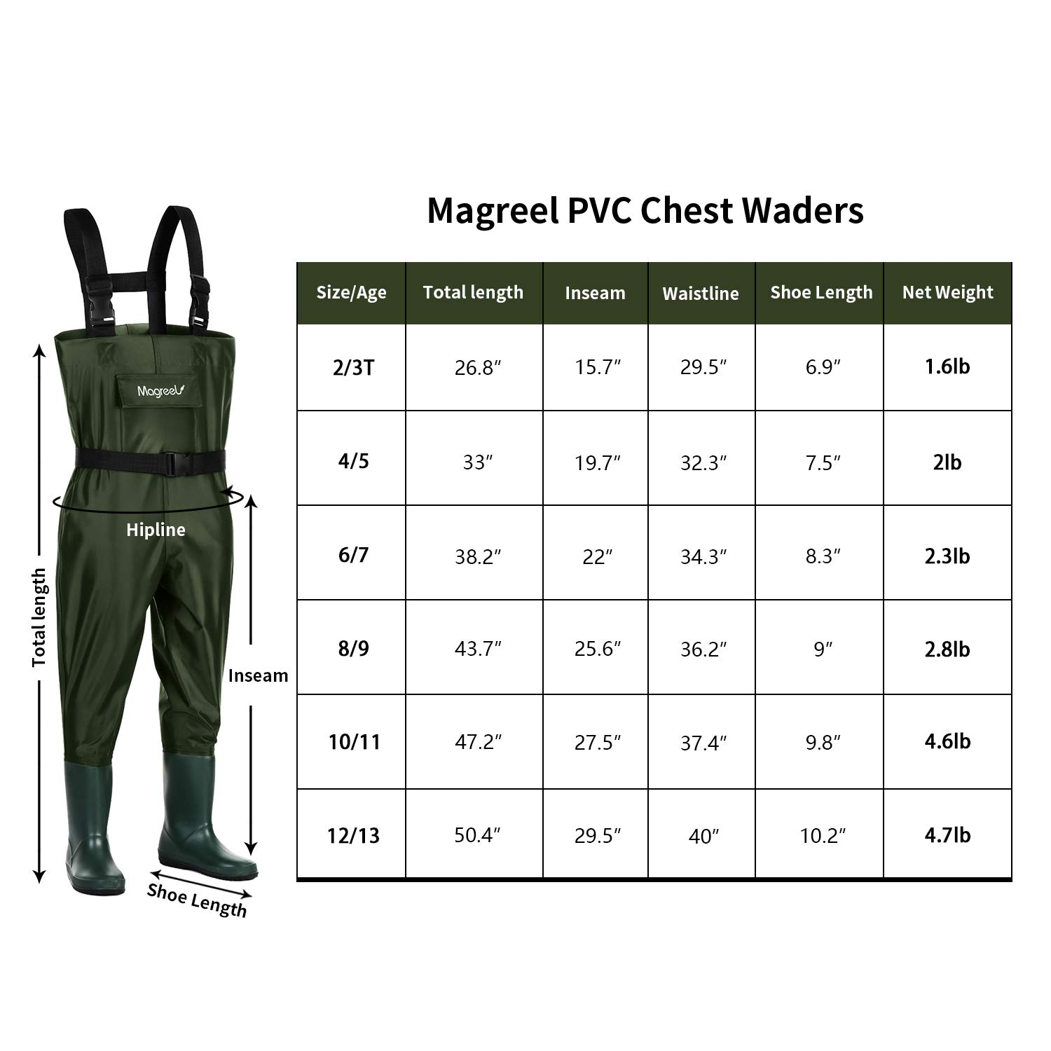 Magreel Kids Chest Waders Waterproof Nylon PVC Youth Waders with Boots Fishing Hunting Waders for Toddler Children, Boys Girls, Army Green, Age 2-13