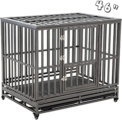 Smonter Heavy Duty Dog Crate Strong Metal Pet Kennel Playpen With Two Prevent Escape Lock Large Dogs Cage With Wheels