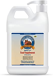 Grizzly Salmon Plus Omega Fatty Acids Food Supplement for Dogs & Cats (Various Sizes) - Wild-Sourced Salmon Oil, Omega 3-6-9 (64 Fl Oz)