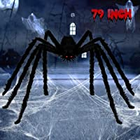 BELANT 6.6FT Giant Hairy Spider Halloween Decorations Scary Outdoor Yard Decor, Black