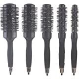 Ceramic Thermal Round Brush for Blow Drying, Curling and Styling, Set of 5 Sizes (1 Set = 5 Brushes in Different Sizes)-Black