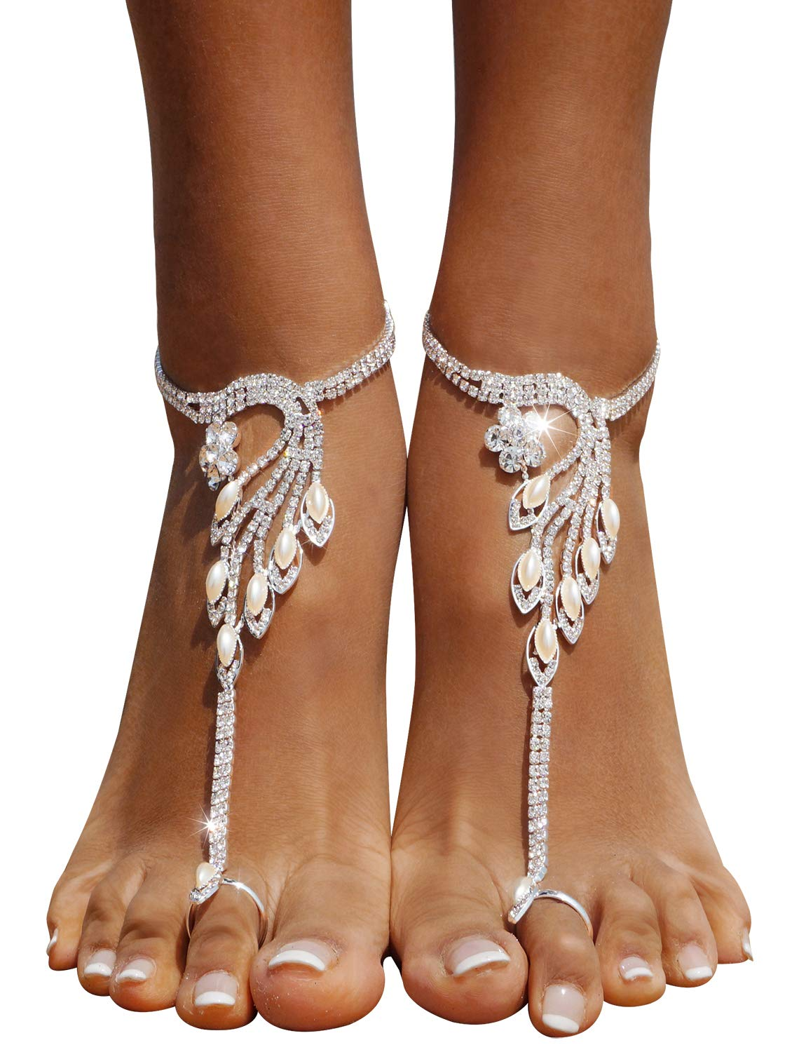 2 Pieces Women's Foot Chain Barefoot Sandals Beach Wedding Jewelry Anklet with Rhinestone Toe Ring Gold Bellady ZXG18030002