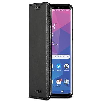 CASEZA Samsung Galaxy S9 Funda Negro Tipo Libro Piel PU Case Cover Carcasa Plegable Cartera Oslo Piel Vegana Premium para Galaxy S9 (5.8