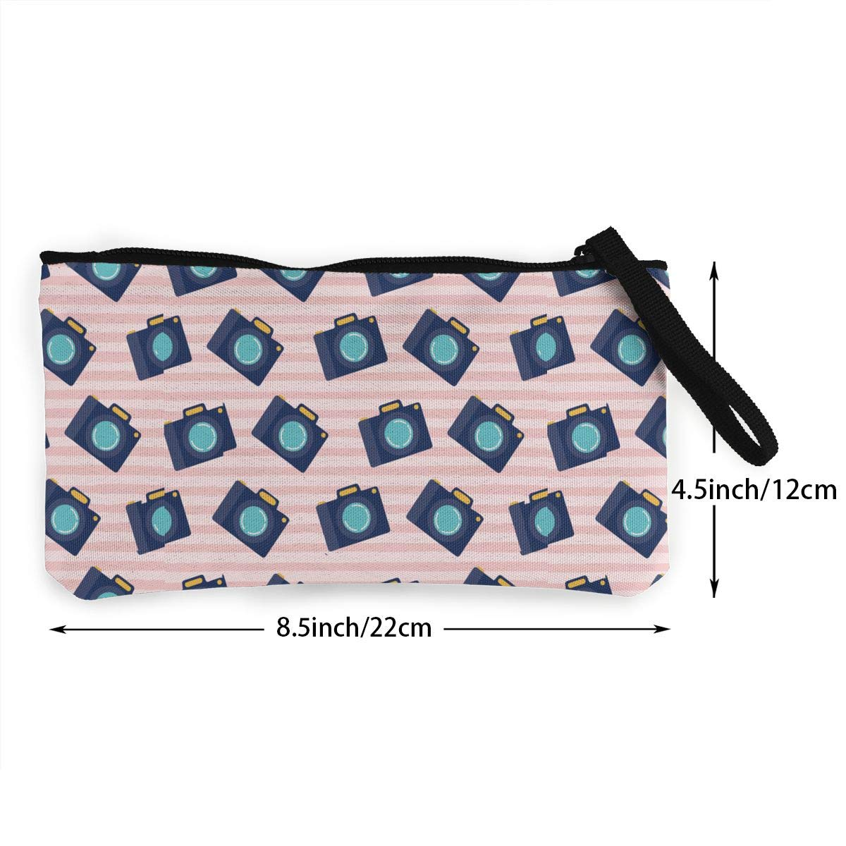 Camera Pattern Wallet Coin Purse Canvas Zipper Make Up for Travel