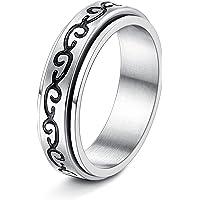 FIBO STEEL Stainless Steel Spinner Ring for Women Men Fidget Band Rings Moon Star Sand Blast Finish Flower Ring Set for…