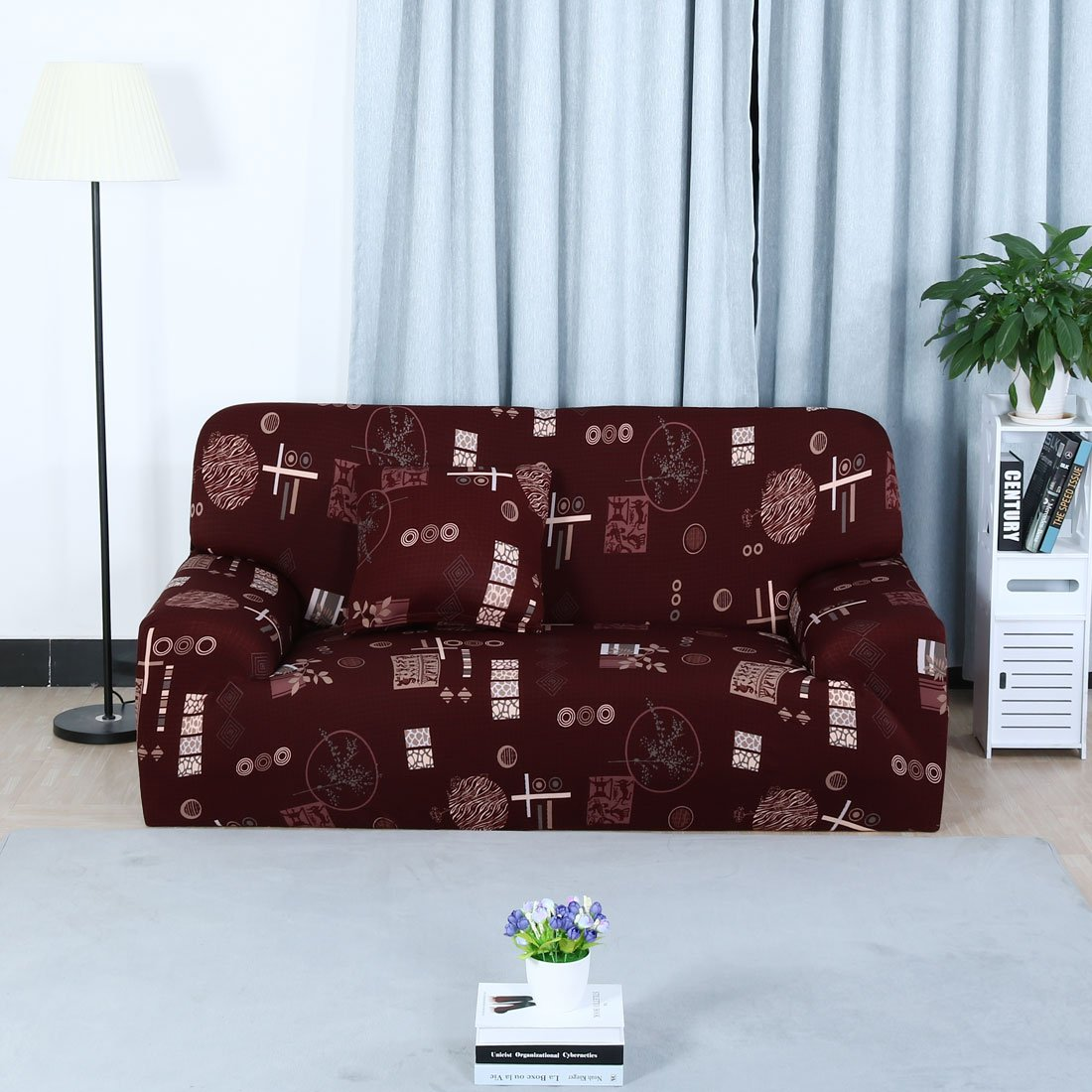 uxcell Stretch Sofa Cover Loveseat Couch Slipcover, Machine Washable, Stylish Furniture Protector Covers with One Cushion Case (4 Seater, Pattern 8)