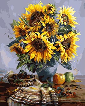 DIY Digital Painting by Numbers Kits on Canvas YEESAM ART New Paint by Numbers for Adults Children Window Sunflower 16*20 inches Linen Canvas