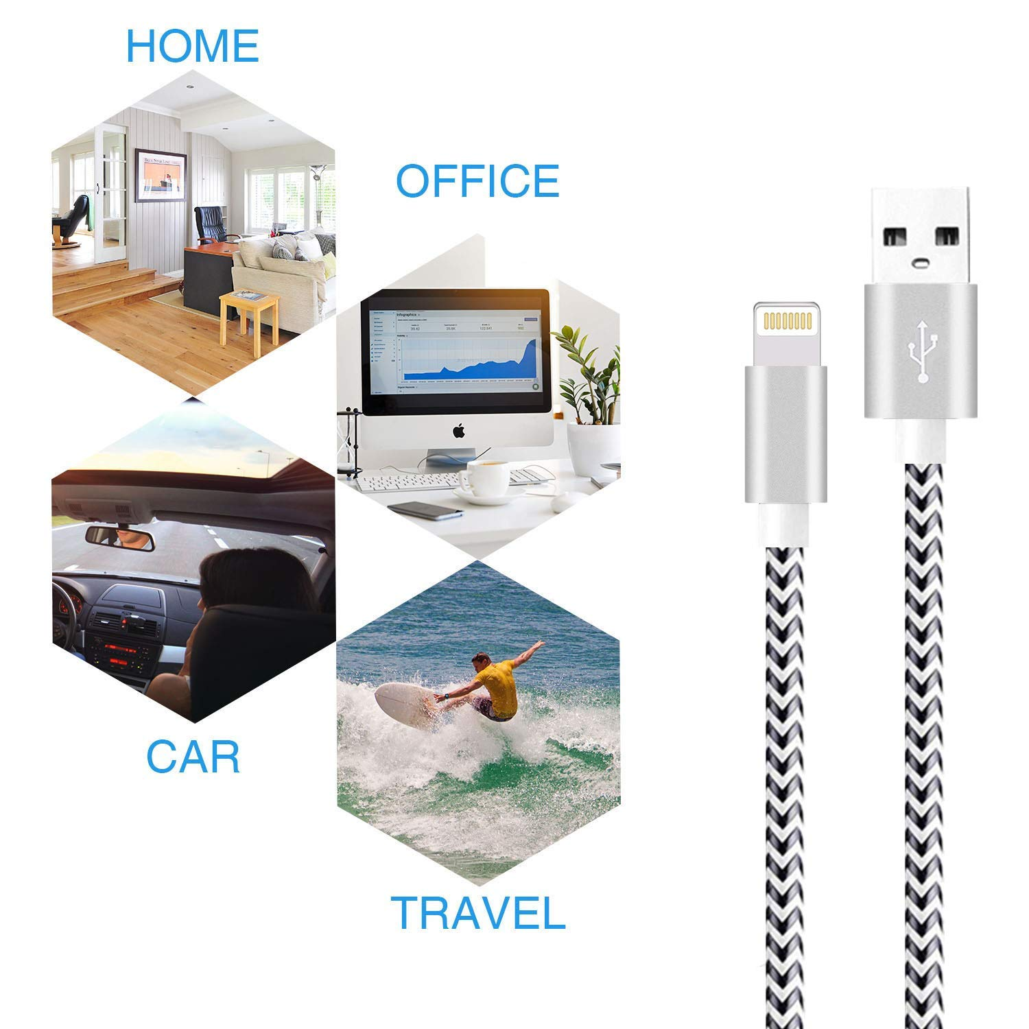 Black/&Silver Sharllen iPhone Charger Cord Lightning Cable 3//3//6//6//10FT 5Pack Nylon Braided USB Fast iPhone Charging Cable/&Syncing Long Cord Compatible iPhoneXs//Max//XR//X//8//8P//7//7P//6//iPad//iPod