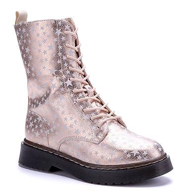 cc530081531ca9 Schuhtempel24 Damen Schuhe Boots Stiefel Stiefeletten rosa Blockabsatz  Gemustert 3 cm