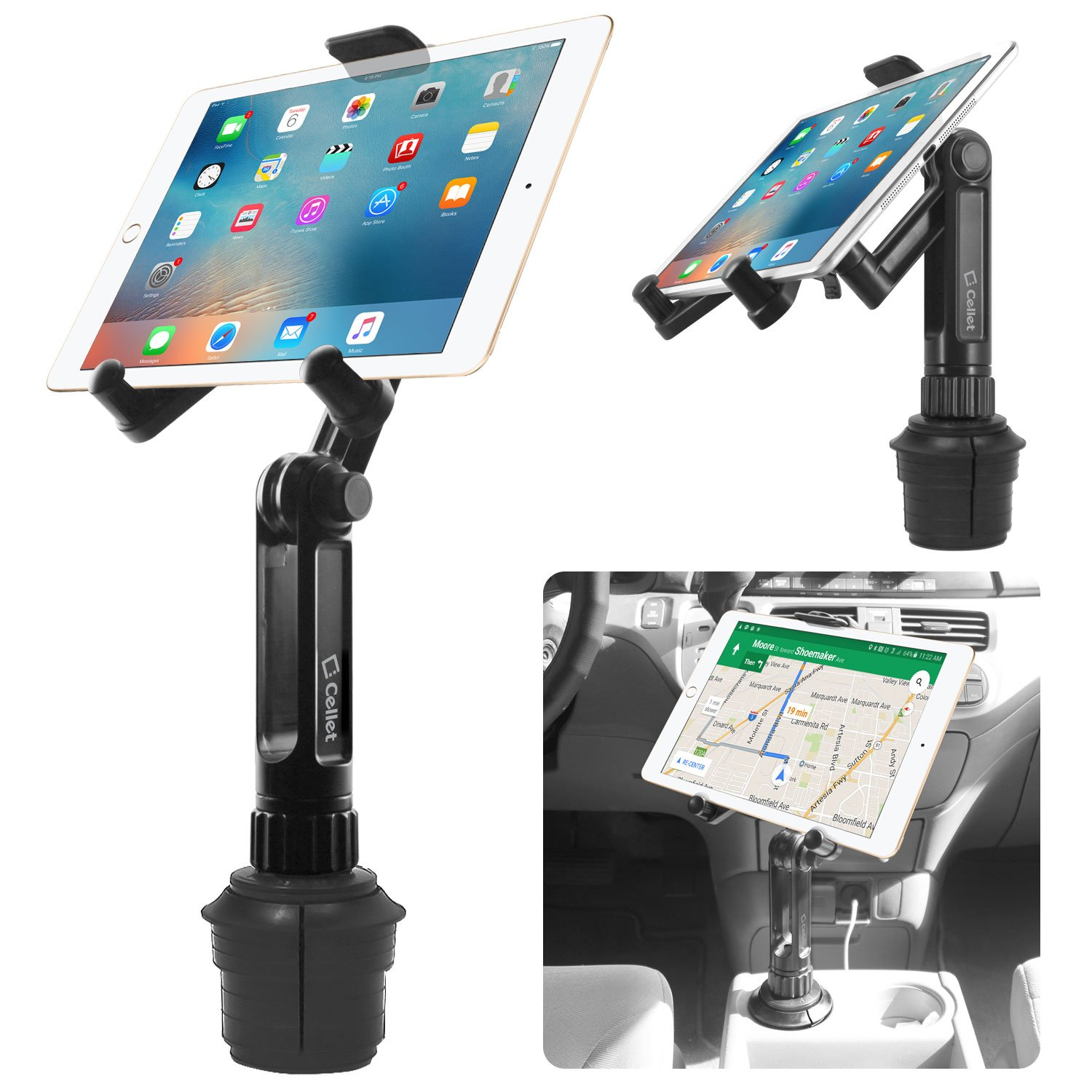 Cup Holder Tablet Mount, Tablet Car Cradle Holder Made by Cellet Compatible for iPad Pro/Air 2019/Mini iPad 9.7 Samsung Galaxy Tab S5e S4 S3 LG tab Micro Soft Surface Go Pro 6 Google Pixel Slate by Cellet
