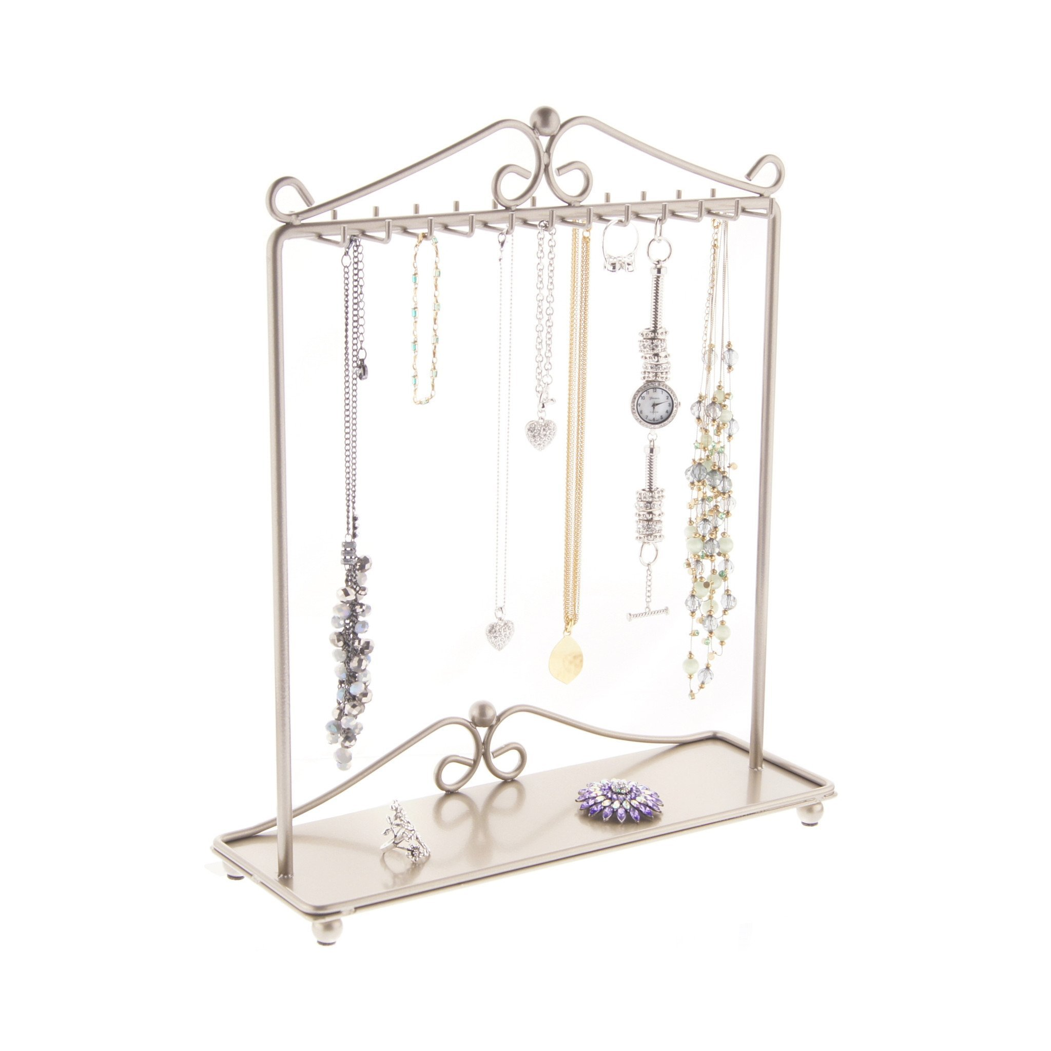 Necklace Holder Display Stand Jewelry Organizer Tree Bracelet Storage Rack with Tray, Calla Satin Nickel Silver