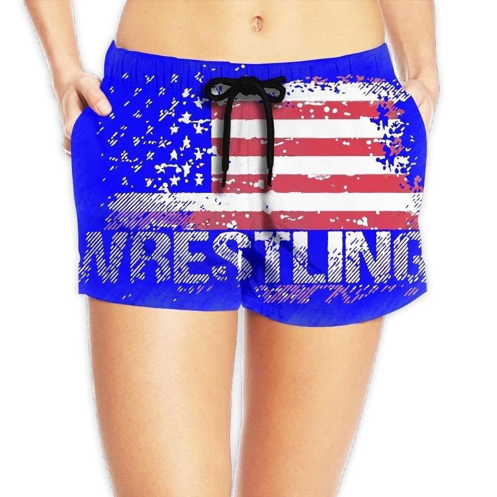 vaepinopes Wrestling American Flag Womens Quickly Drying Beach Waist Elastic Shorts Swim Trunk Boardshorts Swimwear with Pocket by vaepinopes