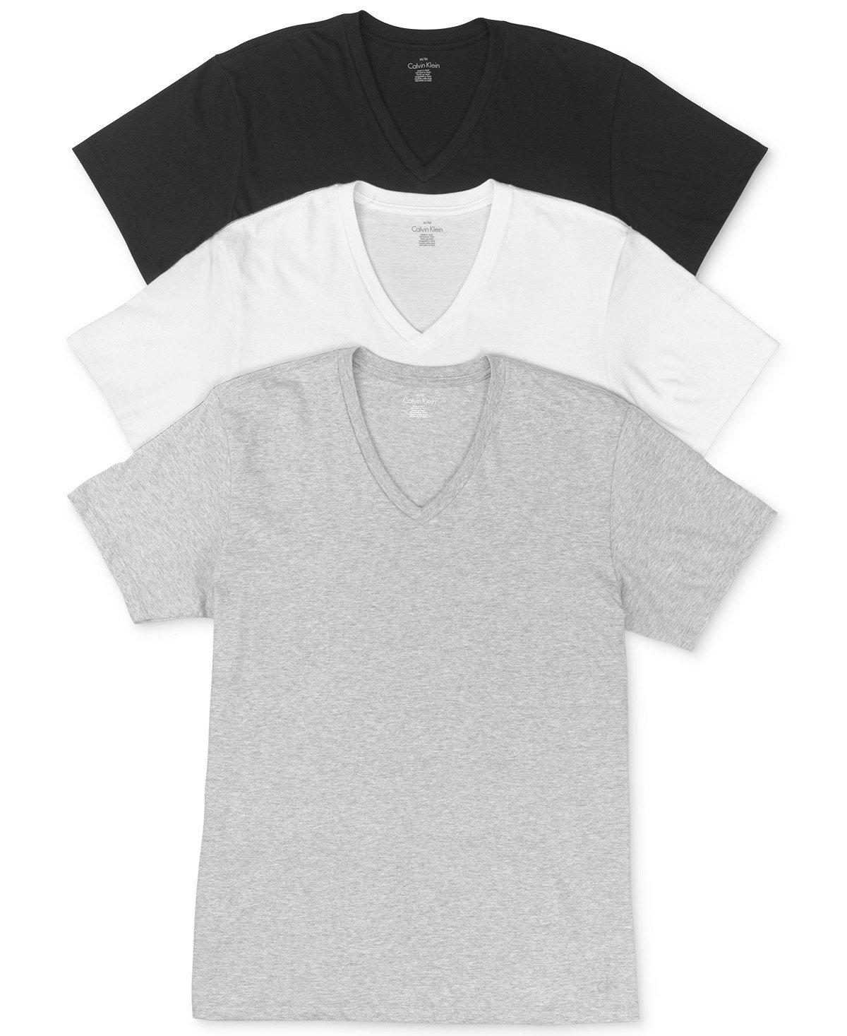 Calvin Klein Men`s 3-Pack Classic Fit Cotton V-Neck T-Shirts (White (M4065-900)/Heather Grey/Black, X-Large)