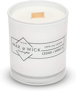 Scented Soy Candle: 100% Pure Soy Wax with Wood Double Wick   Burns Cleanly up to 60 Hrs   Cedar + Vanilla Scent with Notes of Cedarwood and Vanilla.   12 oz. White Jar by Wax and Wick