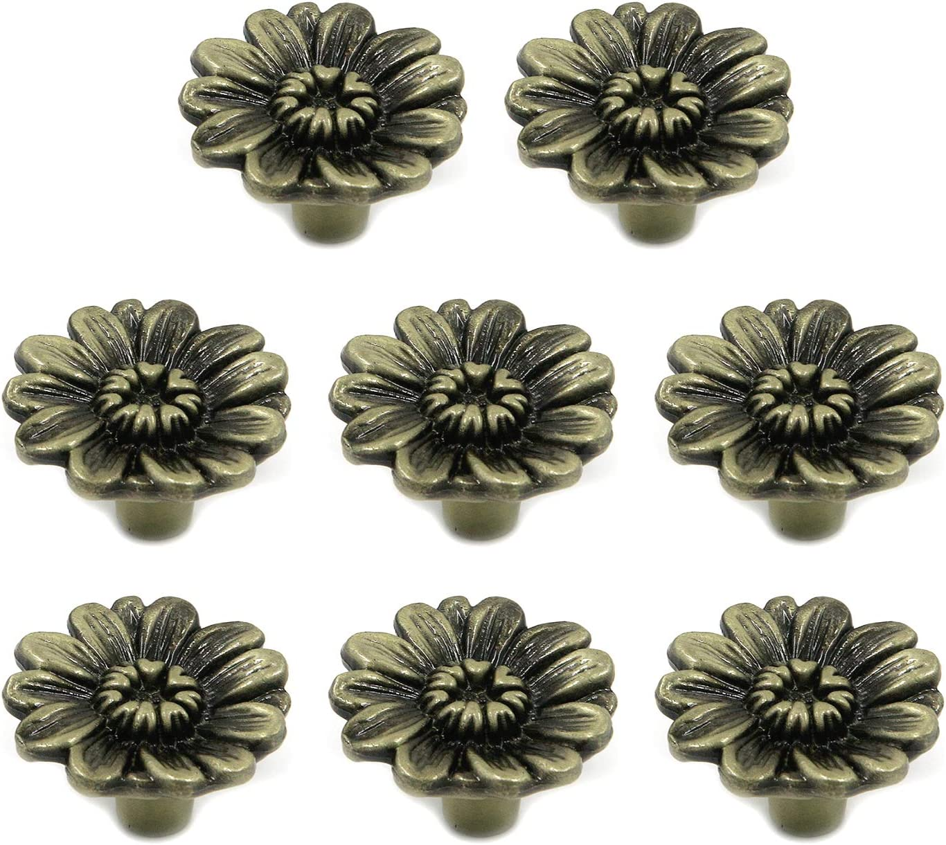 FarBoat Drawer Knobs Antique Flower Cabinet Decorative Pull Handles Zinc Alloy Hardware for Cupboard Wardrobe Kitchen Bathroom with Screws, 8Pcs(Bronze, 34x22mm/1.34x0.87inch)