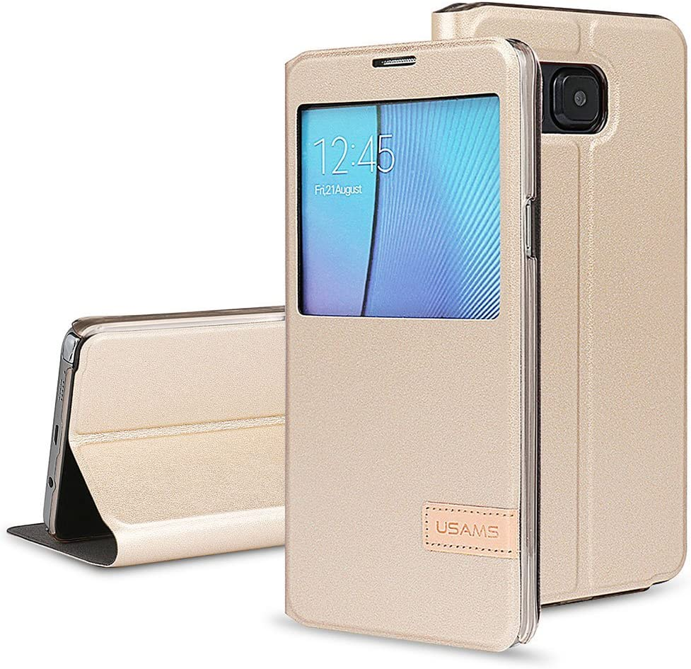 Amazon Com Patented Smart Cover Galaxy Note 5 Case Usams Kollea Flip Cover W Bonus Smart App Auto On Off For Samsung Galaxy Note 5 Gold Electronics