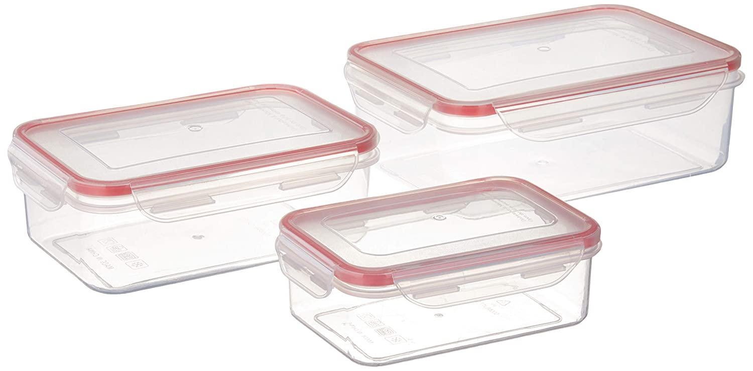 Inspired Living by Mesa Pantry Clear Plastic Piece Rectangular Click-N-Lock Collection 6 Pc. Food Container Set by Inspired Living, Rect, ASSORTED