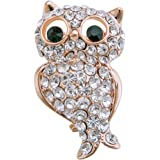 Pretty Gold Plated intage Full Shining Clear Crystal Owl Brooches and Pins Wedding for Women Gifts