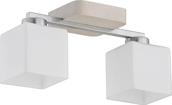 Lámpara de techo de 2 Cristal Blanco Modern rectangular ...