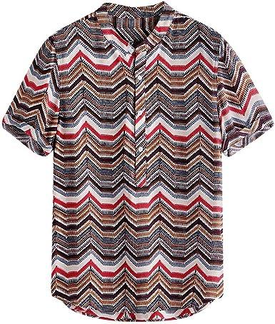 Men Short Sleeve Buttons Casual Shirts Loose Plain Summer Blouse T-Shirt Top Tee