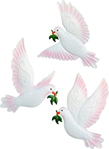 J-Fly Dove of Peace Wall Art Décor, 9inch Large 3Pack Metal Wall Decoration Outdoor Indoor Ornament for Living Room Bedroom Garden, White Wall Sculptures Hanging for Kitchen Dining, Gifts for Mom