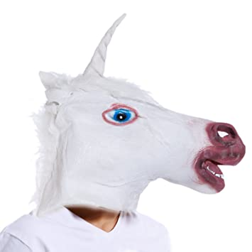 Careta Máscara de Unicornio de Vinilo para Cabeza Completa Disfraz Halloween Carnaval Tema Animal y Natural