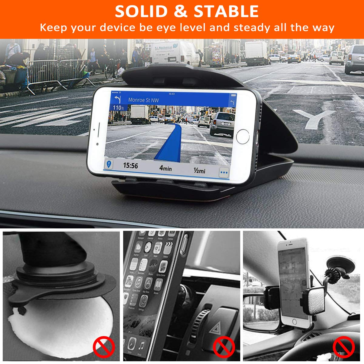 Amazon.com: Phone Holder for Car, Matone Car Mount Dashboard Cell Phone Holder [Easy Opening & Neat Folding], Compatible with iPhone X/XS Max/XR/8 Plus/7 ...