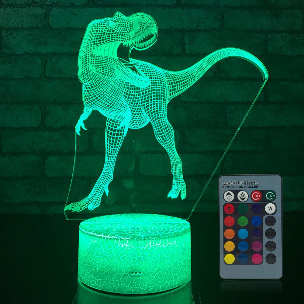 JMLLYCO Dinosaur Night Light, Dinosaur Lamp Kids Night Light 16 Colors Change with Remote Control Optical Illusion Bedside Lamps As a Gift Ideas for Boys and Girls Birthday Gifts Youmi Zhuangshi