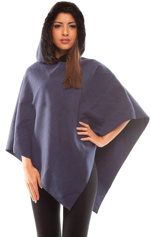 jowiha® Damen Poncho mit Kapuze und Kunstfell Besatz in 5 Farben verfügbar Einheitsgröße S-M 34-40