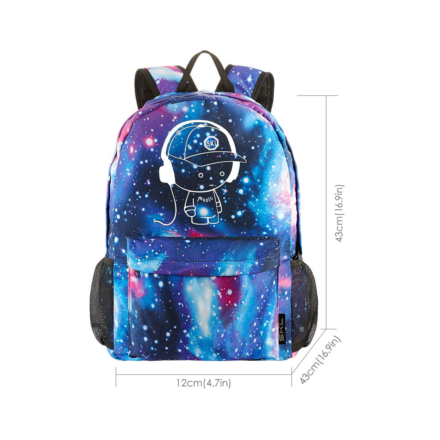 Amazon.com: School Backpack Cool Luminous School Bag Unisex Galaxy Laptop Bag with Pencil Bag for Boys Girls Teens - Blue: Computers & Accessories