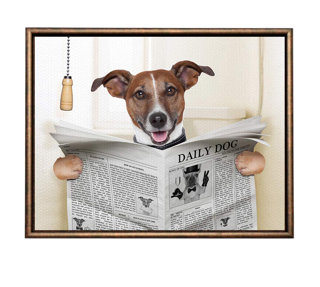 Eliteart-Dog Reading Newspaper Oil Painting Reproduction Giclee Wall Art Canvas Prints- Framed