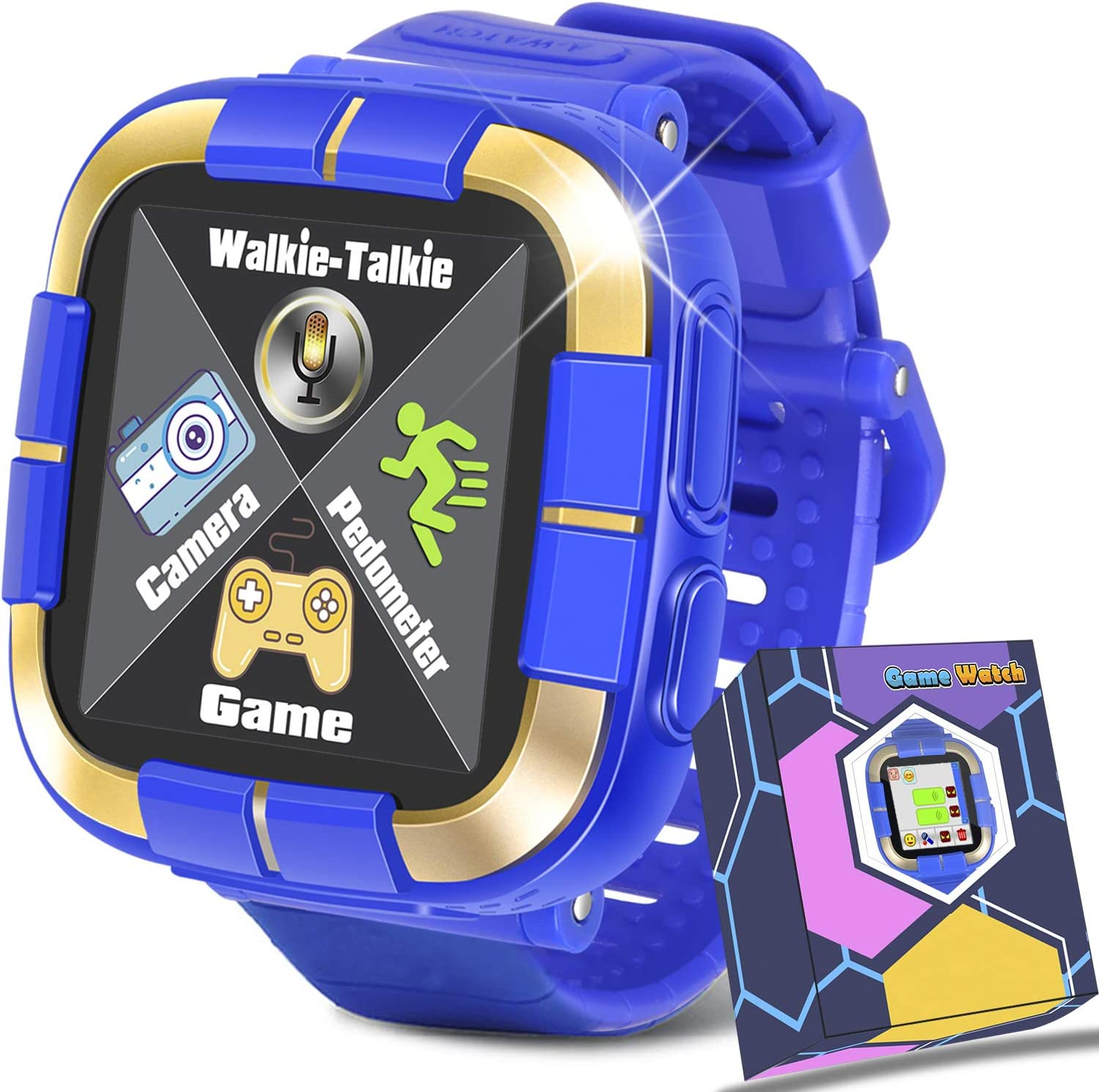 Smartwatch for Girls Boys,Kids Walkie Talkie Game Smart Watch with Camera Touch Screen Pedometer,Wrist Bracelet Kids Electronic Watches Birthday Holiday Toys Gifts (Blue)