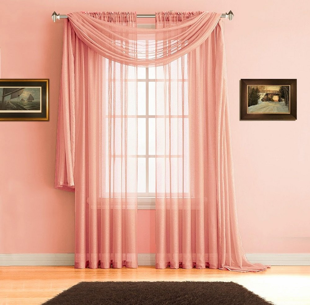 Premium Quality 54 x 84 Inch Sheer Coral Pink Faux-Linen Rod Pocket Curtains