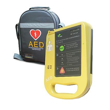 Desfibrilador semiautomático AED7000 con autotest totalmente en español. Fácil de usar con 2 botones.