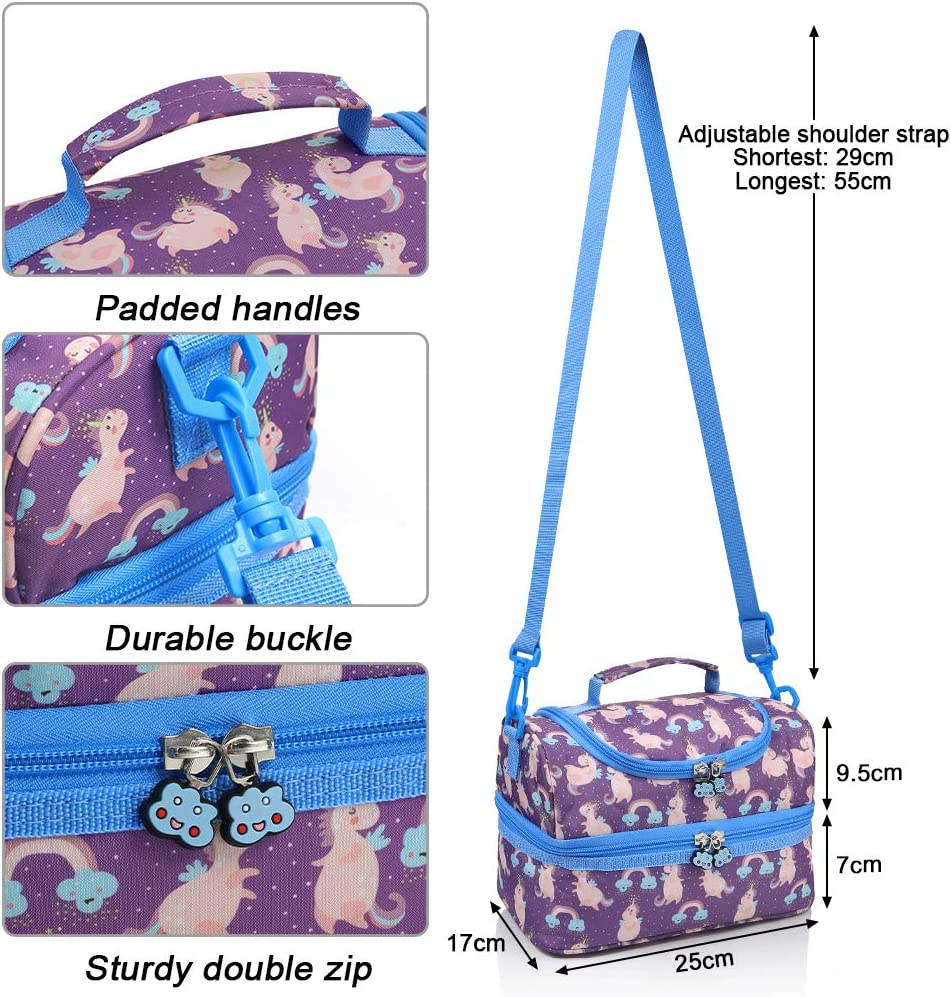 Insulated Bag Detachable Shoulder Strap Capacity up to 7L Double Insulation Anpro Kids Lunch Bag
