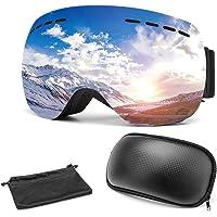Omasi Maschera da Sci, Occhiali da Sci OTG, Occhiali da Snowboard Antivento Anti Fog Protezione UV400, Super-grandangolo, per a Snowboard, Motocross e Altri Sport Invernali, per Uomini e Donne