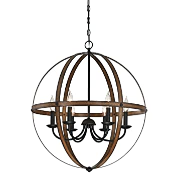 Westinghouse 6333600 Stella Mira Six Light Indoor Chandelier Finish,  Barnwood And Oil Rubbed Bronze