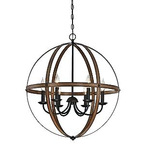 Westinghouse Lighting 6333600 Stella Mira Six-Light Indoor Chandelier, Barnwood and Oil Rubbed Bronze Finish Barnwood & Oil