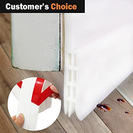 Self Adhesive Under Door Silicone Sweep Weather Stripping Weatherproof Doors Bottom Seal Strip Insulation Draft Stopper & Amazon.com: Self Adhesive Under Door Silicone Sweep Weather ...