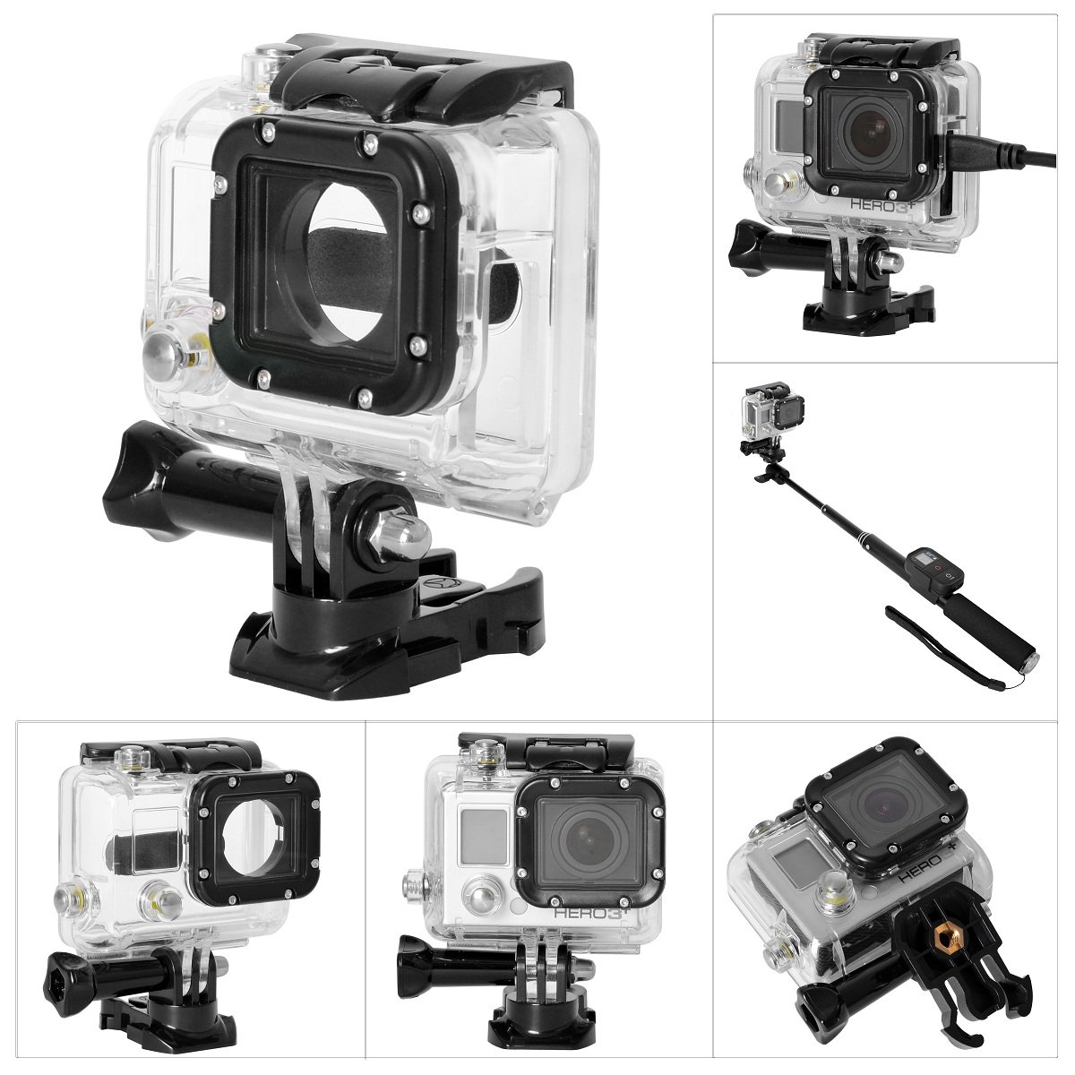 Fantaseal Direct-mount Side Open Housing for GoPro Housing GoPro Protective Case GoPro Shell Skeleton Housing w/ 2-in-1 GoPro Buckle Clip + Screw Wrench for GoPro Hero 4/3+/ 3