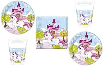 52-piezas juego de partido Unicornio - unicornio - Plato Vaso Servilletas para 16 Niños
