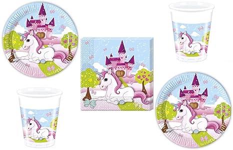 52-Pz. insieme del partito Unicorno - unicorno - Tovaglioli Tazze Piastra  per 16 45e31ecdf85