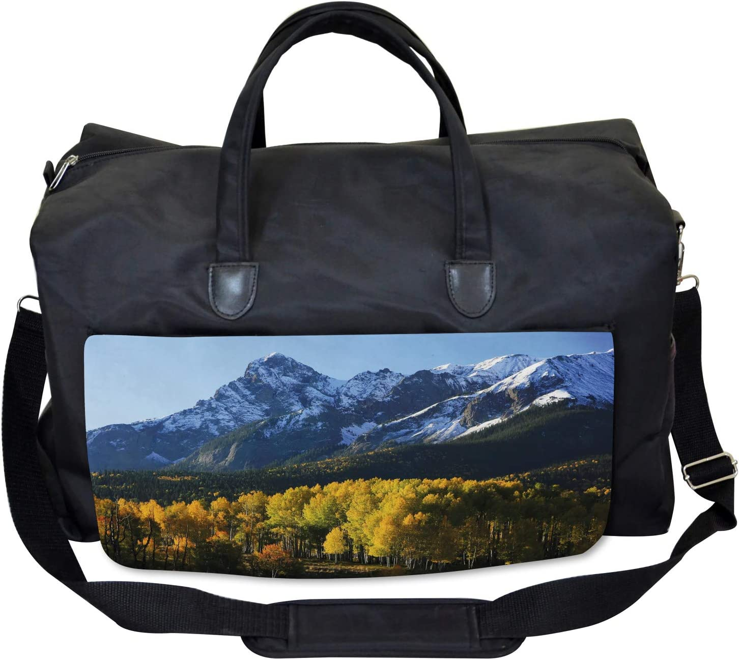 Large Weekender Carry-on Ambesonne Landscape Gym Bag Colorado Village